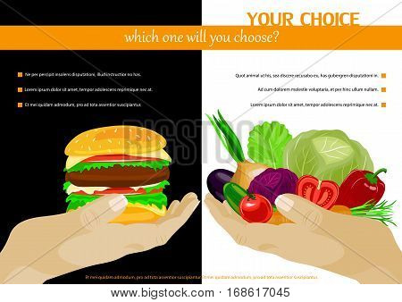 Healthy food choice poster template. Junk food vs healthy food. Black or white choice. Vector illustration