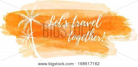 Travel grunge banner with palm trees in orange color
