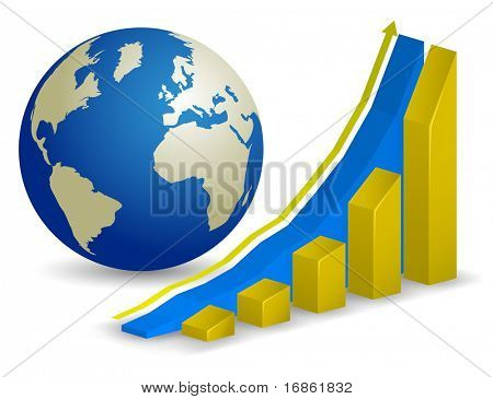 Global finance. Growth Chart with world map on background.