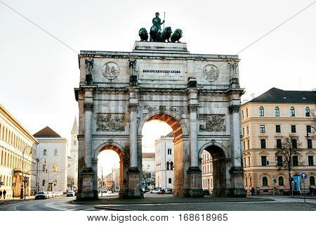 Victory Gate triumphal arch (Siegestor) in Munich, Germany