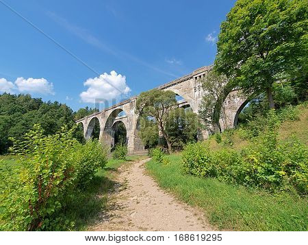 Stanczyki aqueducts railway. village Stanczyki, Poland, Masuria region - August 05, 2012 Double antique aqueducts railway 1912-1918 in the village Stanczyki northern Polish.