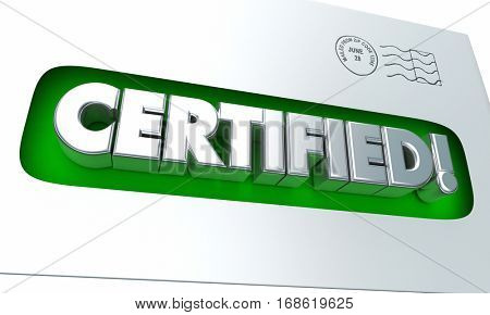 Certified Licensed Official Envelope Authorized 3d Illustration