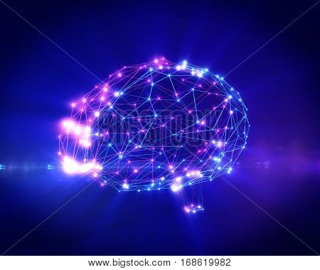 Polygonal brain shape of an artificial intelligence with lines and glowing dots and shadow over the dark blue background. 3D rendering.