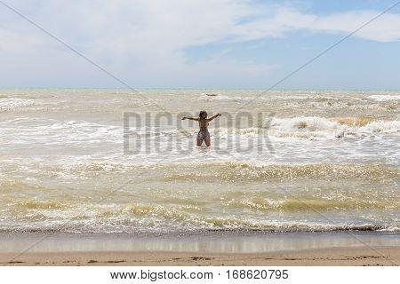 Girl At The Beach Alberese Of The Italian Region Tuscany