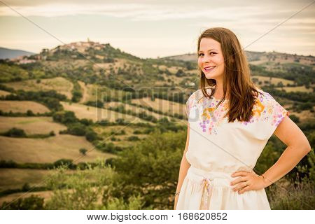 Girl At Sunset In The Tuscan Region Maremma, Italy