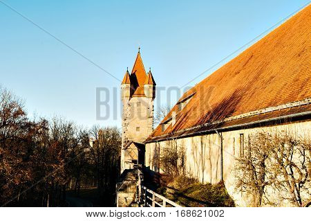 View of the tower in Germany. Bavaria. Rothenburg-Ob-der-Tauber. The ancient fortress.