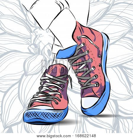 mint colour sports shoes scetch on background. Vector EPS