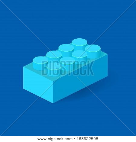 Isometric Plastic Building Block with shadow. Vector blue brick