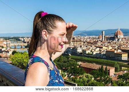 Girl At The Michelangelo Square In Florence, Italy In Summer 2016