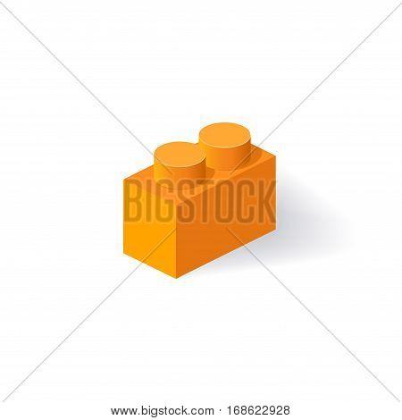 Isometric Plastic Building Block with shadow. Vector orange brick