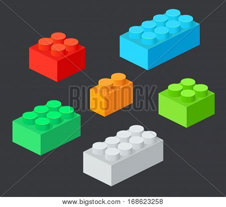Isometric Plastic Building Blocks with shadow. Vector set of the colored bricks