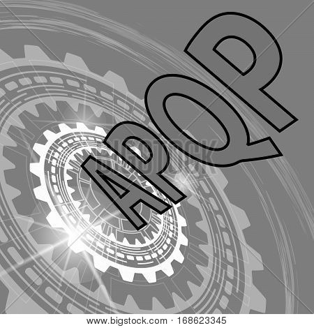 Advanced product quality planning strategy background. Grey scale industrial background with gear and title APQP