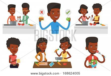 Two african-american women following recipe for healthy vegetable meal on digital tablet. Young happy women cooking healthy meal. Set of vector flat design illustrations isolated on white background.