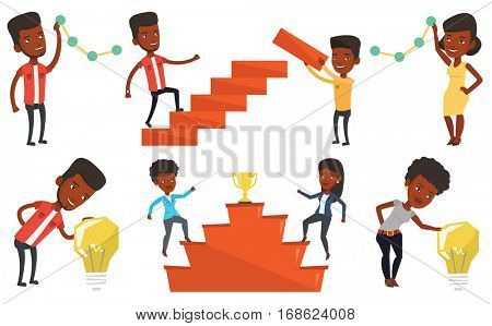 African businessman pulling up a business chart. Businessman looking at chart going up. Businessman lifting a business chart. Set of vector flat design illustrations isolated on white background.