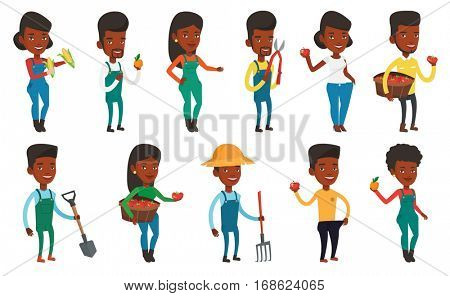 African-american farmer holding a pitchfork. Farmer in summer hat standing with a pitchfork. Young farmer working with a pitchfork. Set of vector flat design illustrations isolated on white background