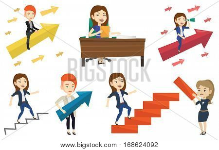 Business woman running up the career ladder drawn by hand. Business woman climbing the career ladder. Concept of business career. Set of vector flat design illustrations isolated on white background.