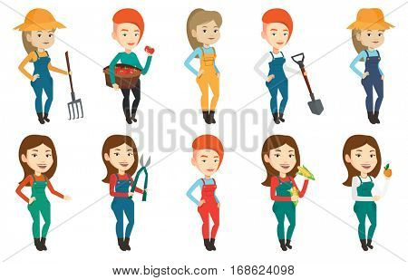 Smiling caucasian farmer collecting corn. Happy female farmer holding a corn cob. Cheerful farmer standing a corn cob in hands. Set of vector flat design illustrations isolated on white background.