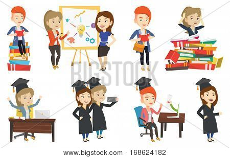 Graduate sitting at the table with laptop. Graduate in graduation cap using laptop for education. Online graduation concept. Set of vector flat design illustrations isolated on white background.