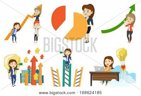 Caucasain business women holding growth graph. Cheerful business team with growth graph. Concept of business growth and teamwork. Set of vector flat design illustrations isolated on white background.