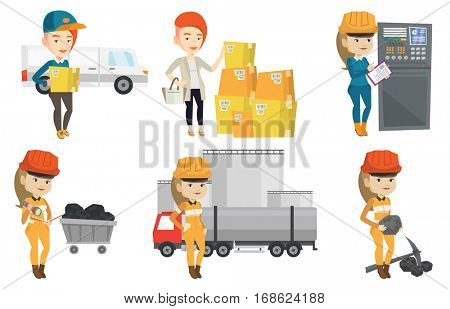 Miner checking documents on the background of trolley with coal. Miner working with a pickaxe. Caucasian female miner at work. Set of vector flat design illustrations isolated on white background.