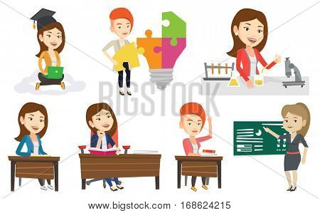 Student carrying out laboratory experiment. Student working with microscope at laboratory class. Girl experimenting in laboratory. Set of vector flat design illustrations isolated on white background.