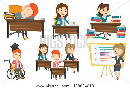 Fatigued student sleeping at the desk with books. Tired girl sleeping after learning. Girl sleeping among the books at the table. Set of vector flat design illustrations isolated on white background.
