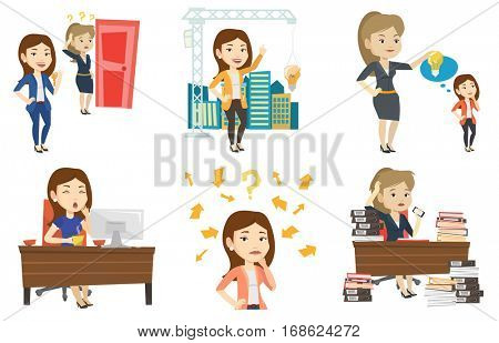Woman pointing at idea light bulb hanging on crane. Architect having idea in town planning. Concept of new ideas in architecture. Set of vector flat design illustrations isolated on white background.