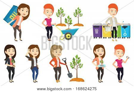 Woman holding plastic bottle with plant growing inside. Woman holding plastic bottle used as plant pot. Plastic recycling concept. Set of vector flat design illustrations isolated on white background.