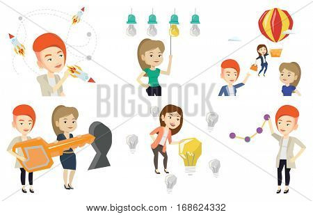 Business women standing in front of a keyhole with big key. Business team holding key to success. Two women carrying huge gold key. Set of vector flat design illustrations isolated on white background