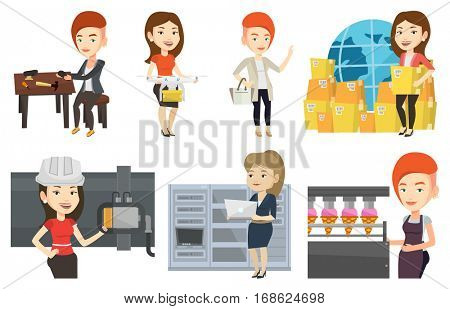 Caucasian smiling woman controlling delivery drone with post package. Young happy woman getting post package from delivery drone. Set of vector flat design illustrations isolated on white background.
