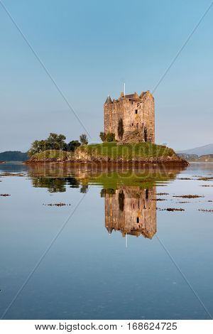 Castle Stalker, Appin, Argyll, Scotland is a well-preserved medieval tower-house situated on a tidal islet on Loch Laich. Founded around 1440 the castle has variously been associated with the Clans of MacDougall, Stewart and Campbell.