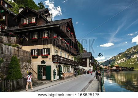 The charming town on the shore of the lake. Calm and relaxation in the afternoon. Hallstatt, Austria 14 June, 2012.