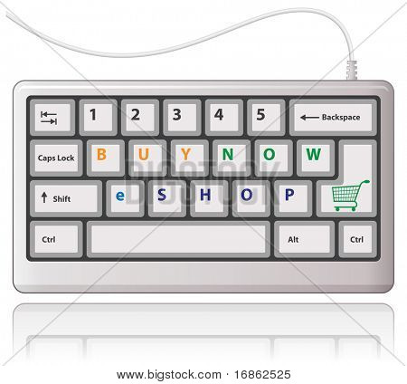 Buy now! White keyboard with shopping cart sign. Vector illustration.