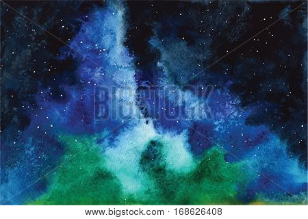Watercolor universe Sky, stars, deep space Violet, blue, fantasy background Hand drawn image