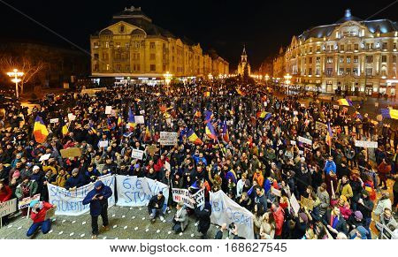 TIMISOARA ROMANIA - 02.04.2017: anti government protests against pardon manifestation crowd