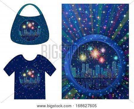 Holiday Background, Round Porthole Window on Blue Wall with Night City Landscape, Skyscrapers, Fireworks and Place for Text, Presented in Tank Top and Handbag. Eps10, Contains Transparencies. Vector