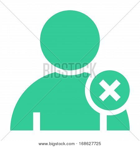 Flat user icon member sign avatar button with delete pictogram. Quick and easy recolorable shape isolated from background. Vector illustration a graphic element for web internet design