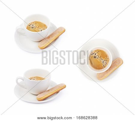 White ceramic cup of coffee with a savoiardi ladyfinger cookie on a plate, composition isolated over the white background, set of three different foreshortenings