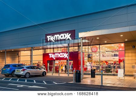 STIRLING SCOTLAND - FEBRUARY 03 2017: Exterior of the Tkmaxx store in Stirling Scotland.