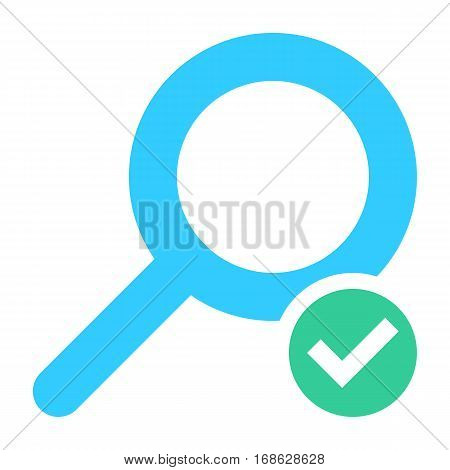 Flat magnifier icon magnifying glass sign loupe button with check mark sign. Quick and easy recolorable shape isolated from background. Vector illustration a graphic element for web internet design