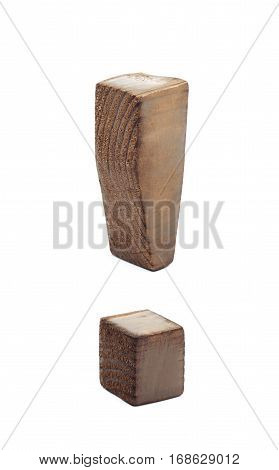 Exclamation point symbol sawn of wood and paint coated, isolated over the white background
