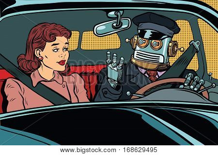 robot autopilot car, woman passenger in unmanned vehicles. Vintage pop art retro illustration. Modern technologies, unmanned vehicles