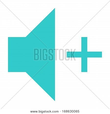 Flat volume-increase icon loudspeaker sign speaker interface button. Multimedia audio video movie pictogram. Vector illustration a graphic element for web internet design