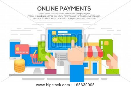 vector concept illustration of making online payment via internet services. E-commerce concept for web banners, printed materials. flat design illustration concepts shopping online and payment online