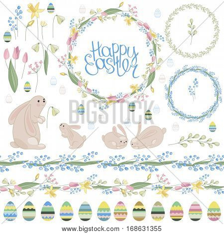 Easter  set with spring tulips, plants,daffodils,eggs,rabbits and herbs. Yellow, breen and blue colors. Objects isolated on white background