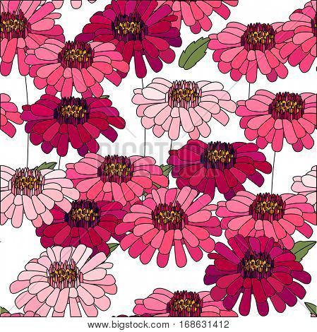 Seamless pattern made of red daises and asters. Endless floral texture