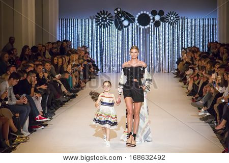 KYIV, UKRAINE - OCTOBER 14, 2016: T.Mosca collection show during the 39th Ukrainian Fashion Week at Mystetsky Arsenal in Kyiv