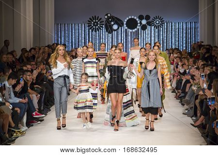 KYIV, UKRAINE - OCTOBER 14, 2016: Model walks the runway at T.Mosca collection show during the 39th Ukrainian Fashion Week at Mystetsky Arsenal in Kyiv