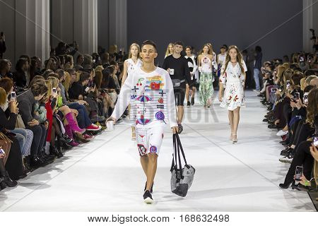 KYIV, UKRAINE - OCTOBER 14, 2016: Models walk the runway at Bogdan Kass collection show during the 39th Ukrainian Fashion Week at Mystetsky Arsenal in Kyiv