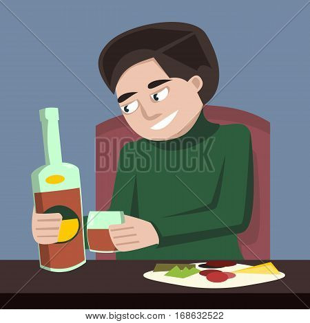 man drinking tipple bottle alone vector cartoon